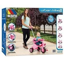 triciclo con bandeja y palo rosa